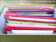 Ideas For Storing Birthday Cards & Remembering To Send Them Out | The-Organizing-Boutique.com