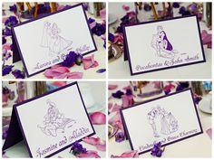Disney Prince and Princess purple reception table cards