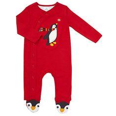 Buy John Lewis Baby Appliqué Penguin Sleepsuit, Red Online at johnlewis.com