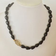 Onyx necklace with citrine focus bead