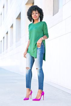 Side Slit Knit + Ankle Length Jeans Source by haddyonly shoes outfit Blue Heels Outfit, Heels Outfits, Classy Outfits, Casual Outfits, Cute Outfits, Hot Pink Shoes, Blue Shoes, Outfits Con Camisa, Blue Jean Outfits