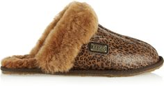 Australia Luxe Collective Leopard-print leather and shearling slippers on shopstyle.com
