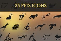 Set of pets icons. by Palau on Creative Market
