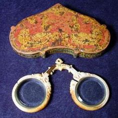 Rivet glasses and case,  popular from about 1270 through 1500-these appear to be bone or ivory