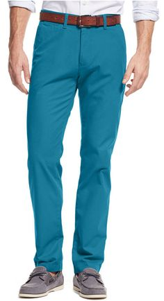 $44, Blue Chinos: Tommy Hilfiger Custom Fit Chino Pants. Sold by Macy's. Click for more info: https://lookastic.com/men/shop_items/312733/redirect