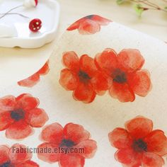Flower Linen Fabric Hand Printed Fabric Linen Cotton by fabricmade, $9.20