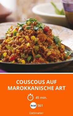 Couscous in Moroccan style- Moroccan style couscous – smarter – calories: 561 Kcal – time: 45 min. Slow Cooker Recipes, Beef Recipes, Vegan Recipes, Cooking Recipes, Couscous Recipes, Salad Recipes, Moroccan Couscous, Eat Smart, Healthy Recipes