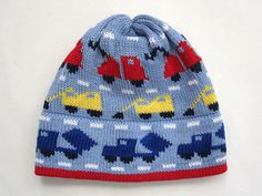 Light Blue Toddler Cotton Knit Trucks Hat by ROIG42 on Etsy, $38.00