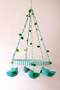 adorable little blue birds mobile! i love the knit texture.