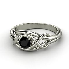 Round Black Onyx Sterling Silver Ring - Default