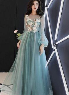 Prom Dresses Long With Sleeves, Prom Dresses For Sale, A Line Prom Dresses, Tulle Prom Dress, Prom Dresses Online, Flower Dresses, Lace Dress, Girls Dresses, Hijab Prom Dress