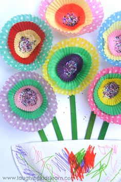 Paper cupcake flowers for kids to make and display