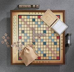 Vintage Edition Scrabble®•Our exclusive vintage edition re-imagines this classic game as it may have been in its early days •Game cabinet is crafted of solid hardwood and features die cast metal accents, including the drawer pull and tile racks •Rotating game board with raised grid  http://www.restorationhardware.com/catalog/product/product.jsp?productId=prod190063