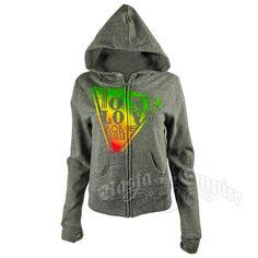Bob Marley Rasta One love Grey Zip Hoodie - Women's #RastaEmpire