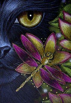 Art: *BLACK CAT KATZE - DRAGONFLY - FLOWERS 5 by Artist Cyra R. Cancel