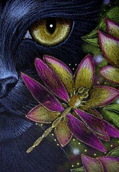 Art: *BLACK CAT KATZE - DRAGONFLY - FLOWERS 5 by Artist Cyra R. Cancel
