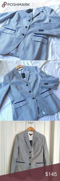 """Brooks Brothers """"346"""" Pinstripe Milano Fit Blazer Beautiful and classy Brooks Brothers """"346"""" Milano Fit Pinstrip Blazer in Baby Blue & Navy Pinstripes and Piping. Adorable buttons on coattail. Fully lined. Lightweight. Comes with extra packet of buttons. Size 14. Made in Thailand.  **pics 3 & 4 make it appear faded, but it is not. Brooks Brothers Jackets & Coats Blazers"""