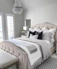 70 Cool Modern Farmhouse Bedroom Decor Ideas - Home Design Gray Bedroom, Small Room Bedroom, Master Bedroom Design, Bedroom Colors, Small Rooms, Master Bedrooms, Lux Bedroom, Girl Bedrooms, Teen Bedroom