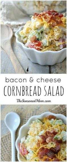 Bacon and Cheese Cornbread Salad Bacon, cheese, and cornbread come together in a delicious, easy, make-ahead side salad that is perfect for your next potluck or cookout! Cornbread Salad Recipes, Bacon Cornbread, Homemade Cornbread, Potato Recipes, Casserole Recipes, Side Dish Recipes, Dinner Recipes, Dessert Recipes, Breakfast Recipes