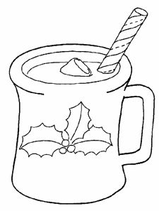 christmas hot chocolate coloring page