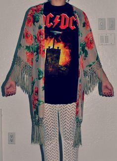 crochet pants + band tee + floral shawl