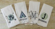 Set of 4 Tribal Themed Handmade Embroidered Burp Cloths in Mint & Navy