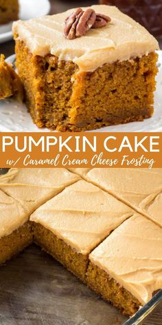 Pumpkin Cake with Caramel Cream Cheese Frosting is the best pumpkin cake recipe I've ever tried. It's moist, flavorful and filled with pumpkin spice.