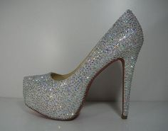 c2aa105ae49ed3 Shoesssss.heels.flats.heels. Custom Silver Crystal Pumps ...