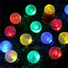 CHRISTMAS FUN!!!! Amazon.com - NEWSTYLE 16.4Ft 30 LED Crystal Ball Solar Powered Outdoor String Lights for Outside Garden Patio Party Christmas (Warm White) -