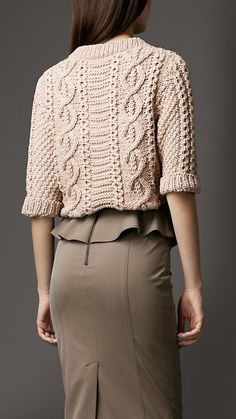 Cable Knit Sweater   Burberry...Wish I could find a pattern like this....its Gorgeous...