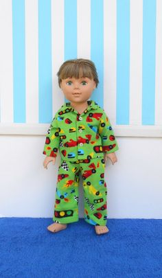 18 Inch Boy Doll Clothes Boy Doll Pajamas Green by DonnaDesigned