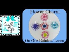 Rainbow Loom Large FLOWER Charm. Designed and loomed by Jacy at  Craft Life. Click photo for YouTube tutorial. 06/25/14.