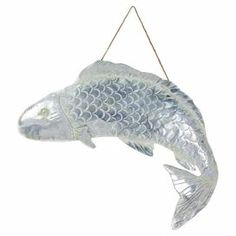 """Crafted from tin and showcasing an embossed texture, this charming fish decor adds a touch of coastal appeal to your foyer or master suite.   Product: Wall decorConstruction Material: MetalColor: SilverDimensions: 29.6"""" H x 29.4"""" W x 2"""" D"""