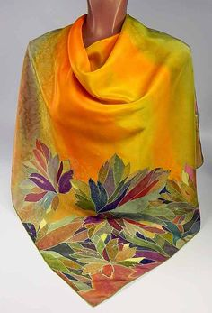 Silk scarf Orange Autumn Batik handpainted on silk by lavanita