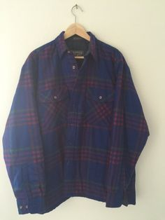 New to CafeMotique on Etsy: Vintage Lined Plaid Work Shirt - Size Large (32.00 USD) #MountainMoto #ColoradoSprings #VintageMoto #CafeRacer