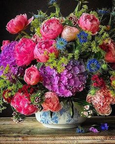 What a beautiful floral arrangement! This colorful assortment has two of my favorite flowers: peonies and hydrangeas! Floral Arrangement Ideas with Old Southern Charm Beautiful Flower Arrangements, Colorful Flowers, Spring Flowers, Floral Arrangements, Beautiful Flowers, Spring Flower Arrangements, Deco Floral, Arte Floral, Art Floral Japonais