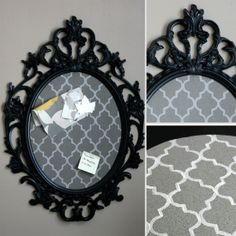 Bulletin Board in painted IKEA UNG DRILL frame