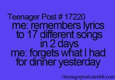 Teenager, lyrics, and song image funny teen posts, relatable posts, teenager quotes Funny Relatable Memes, Funny Texts, Funny Quotes, Relatable Posts, Funny Songs, Videos Funny, Funny Teenager Quotes, Hilarious Memes, Stupid Memes