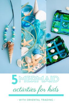 5 magical mermaid crafts for kids with Oriental Trading Little Mermaid Crafts, Mermaid Kids, Mermaid School, Preschool Crafts, Crafts For Kids, Ocean Crafts For Teens, Pirate Preschool, Party Activities, Activities For Kids