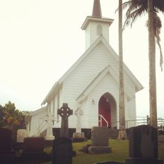 Church with grave site. Built in 1884. Hawi, Hawaii