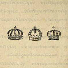 Digital Printable Crowns Download Crown Collage Sheet Graphic Image Vintage Clip Art. Printable high resolution digital graphic from vintage artwork for making prints, iron on transfers, papercrafts, and other great uses. Personal or commercial use. This graphic is high quality at 8½ x 11 inches large. Transparent background version included with every graphic.