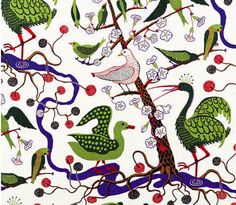 Josef Frank got the inspiration for this print from The Green Book of Birds by Frank G. The print was designed in 1943 - - Textile Gröna Fåglar, Linen Gröna Fåglar, Josef Frank Design Textile, Textile Patterns, Print Patterns, Fabric Design, Josef Frank, Textiles, Art Scandinave, Modern Upholstery Fabric, Upholstery Repair