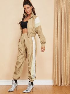 Shop Colorblock Zip Up Jacket and Sweatpants Set online. SheIn offers Colorblock Zip Up Jacket and Sweatpants Set & more to fit your fashionable needs. Paris Outfits, Summer Outfits, Fashion Outfits, Fashion Styles, Women's Fashion, Adidas Tracksuit, Athleisure Outfits, Street Outfit, Active Wear For Women