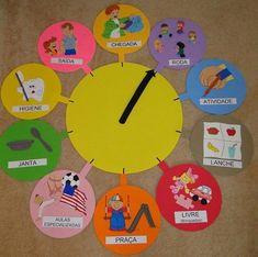 Moving hands clocks for visual aid daily routine. Bible School Crafts, Preschool Crafts, Classroom Walls, Classroom Decor, Baby Sensory Classes, Diy For Kids, Crafts For Kids, Class Decoration, Kindergarten Activities