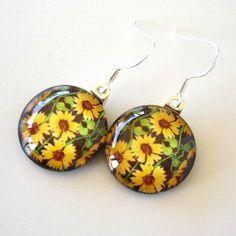 Sunflower Jewelry Dangle Earrings Kaleidoscope by AllKindsofArt, $23.00