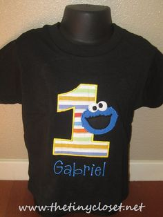 Personalized Cookie Monster Birthday Shirt By TheTinyCloset Kevin Ramirez 1 Year Old Boys