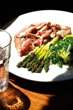 Grilled Wye Valley asparagus, grilled pancetta, new season Italian fig and Barba di Frati.