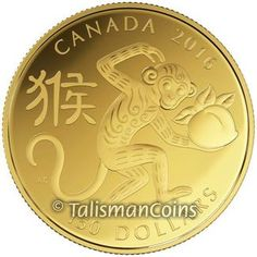 Canada 2016 Year of the Monkey Chinese Lunar Zodiac $150 Round Gold Proof GX L08