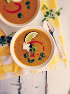 Curried Cauliflower & Lentil Soup with Winter Pesto