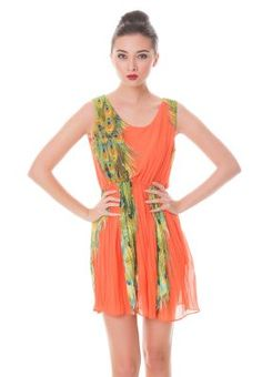 COLLECTIVE.COM Adara Peacock print chiffon dress